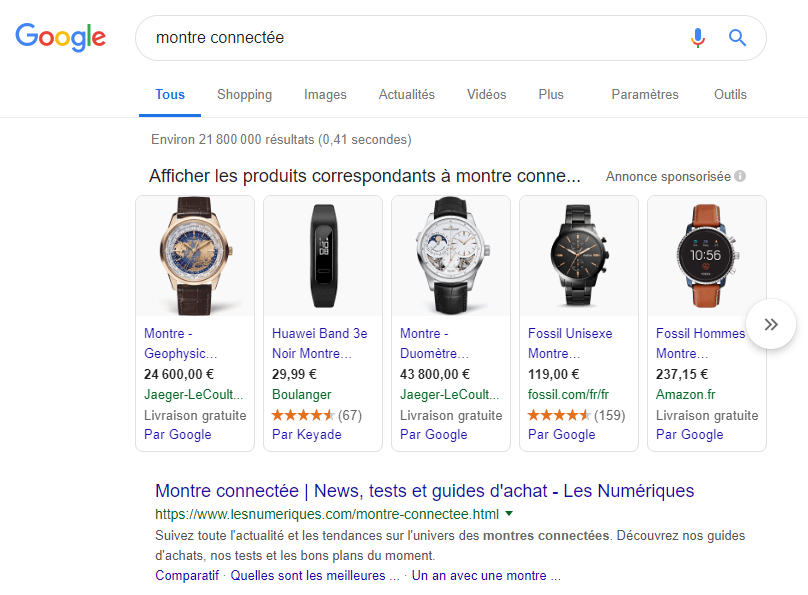 google-shopping-montre-connectée